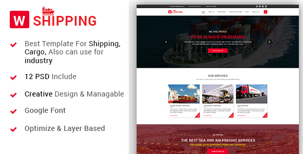 W-Shipping - The Shipping, Cargo, Logistics Industrial PSD Template            TFx