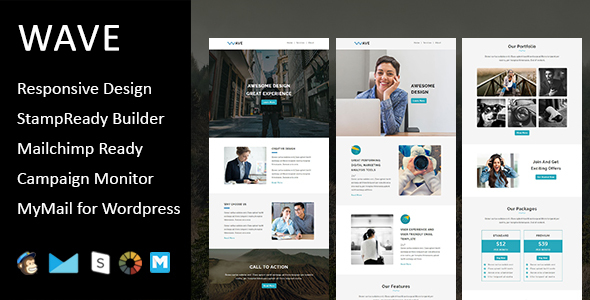 Wave - Multipurpose Responsive Email Template with Stampready Builder Access            TFx