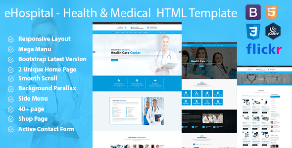 eHospital – Health & Medical  HTML Template            TFx Robert Marlin