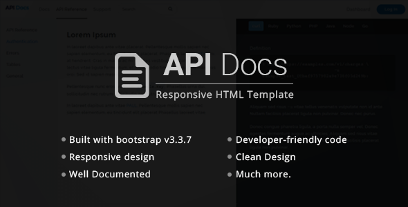 API Docs HTML Responsive Templates TFx SiteTemplates Dominick Kenny