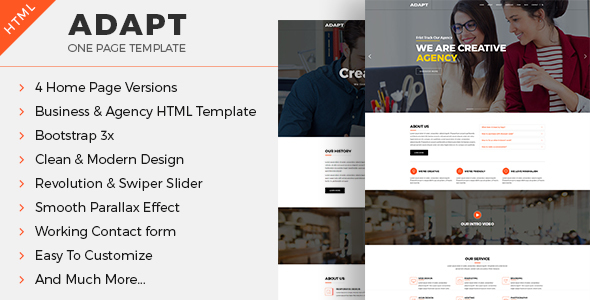Adapt – One-page Business & Agency HTML Template            TFx Derby Kenton