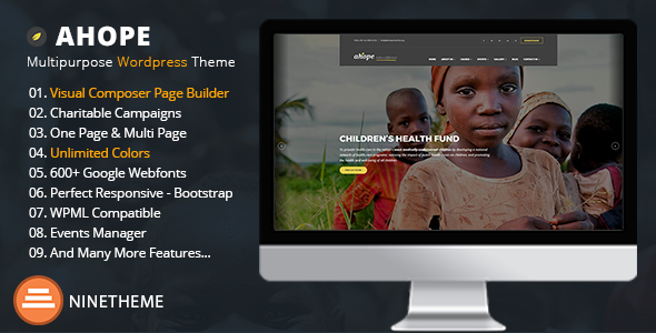 Ahope - A Best WordPress Theme for Non-Profit Organizations            TFx Tommy Sacheverell