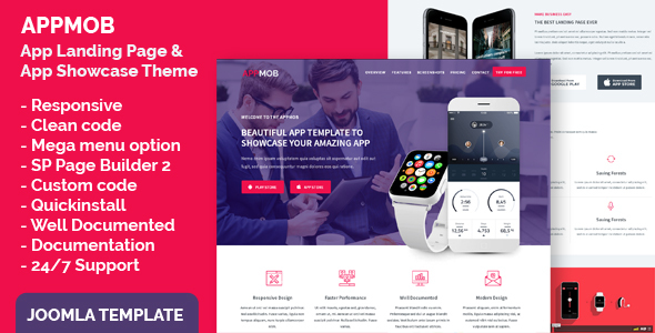 App Landing Page & App Showcase Joomla Responsive Template - APPMOB            TFx Happy Adair