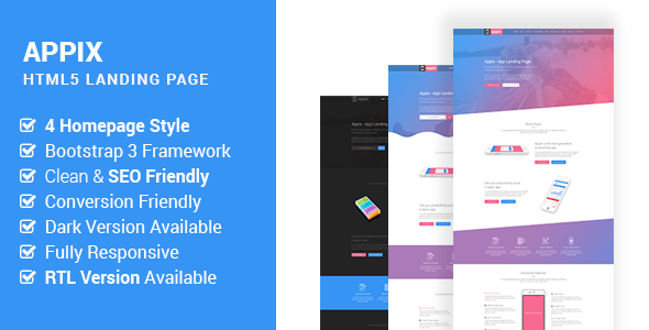 Appix - Creative App Landing Page HTML5 Template  (RTL Included) TFx Jamey Sahak