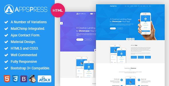 AppsPress – App landing responsive html5 Template            TFx Antinanco Ned