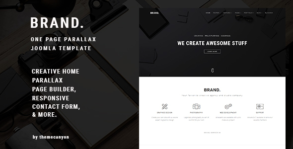 BRAND, - Creative One Page Parallax Joomla Template            TFx Edward Ace