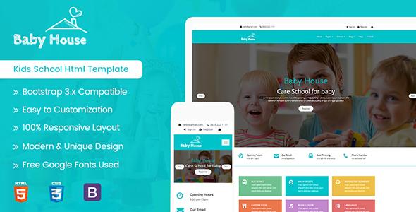 Baby House - Kids School, Kinder Garden and Play School Multipurpose HTML5 Template            TFx Yori Arif