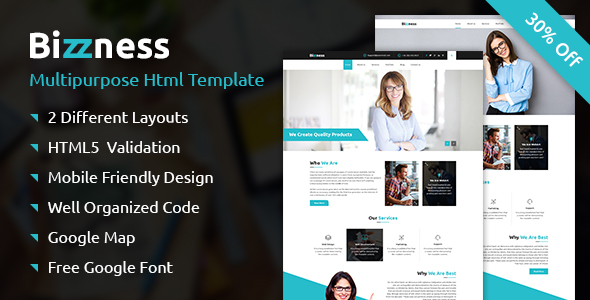 Bizzness - A Business Multipurpose Responsive HTML Template            TFx Ryoichi Caedmon