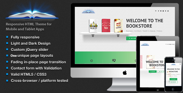 Book Store –  Library,  Magazines  Landing Page Responsive Template HTML5            TFx Len Tenskwatawa