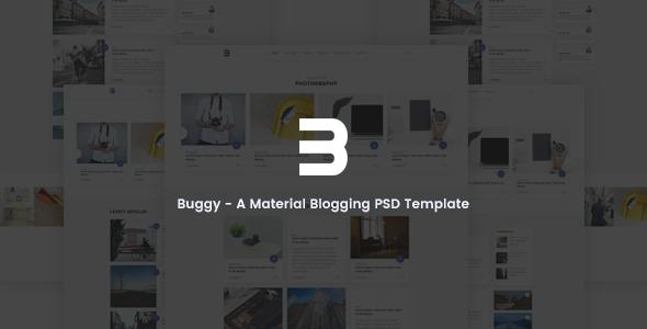 Buggy - Material Blog, Magazine PSD Template TFx Edwyn Kit