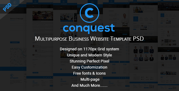 CONQUEST - Multipurpose Business Website Template PSD TFx Chadwick Dom
