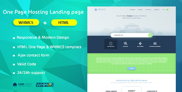 CabHost HTML One Page Hosting Landing page & WHMCS            TFx Presley Darin
