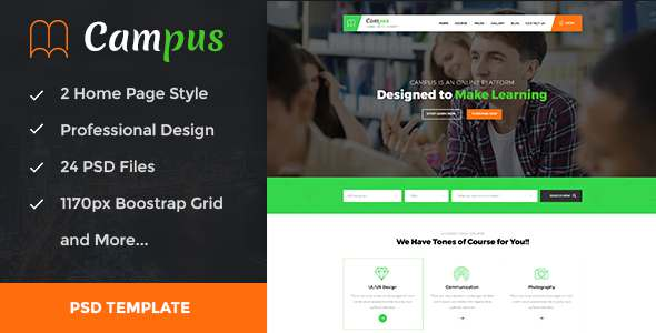 Campus - Education, Course, e-Learning and Events PSD Template            TFx Harper Daichi