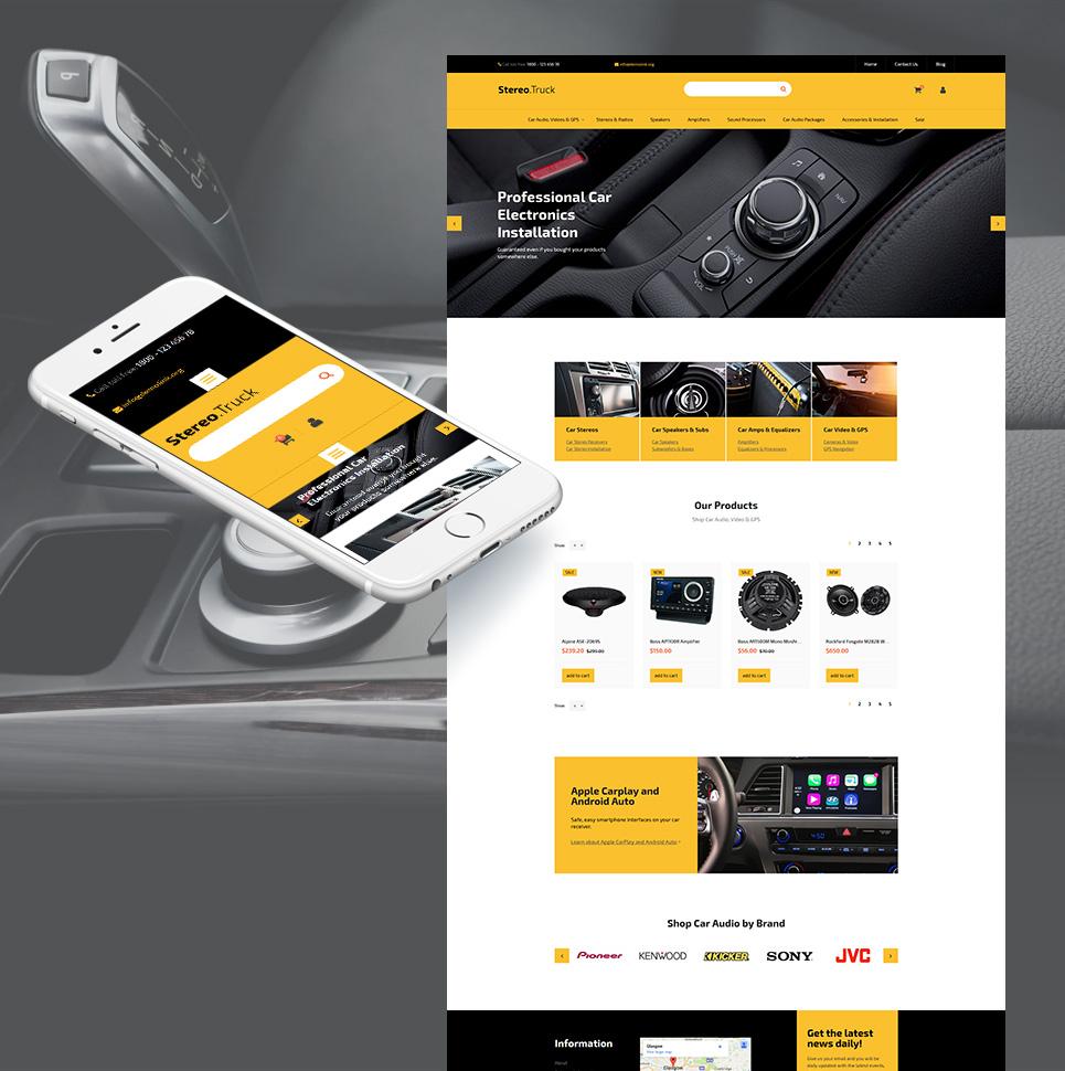 Car Audio Responsive MotoCMS Ecommerce Template TMT Lambert Yori