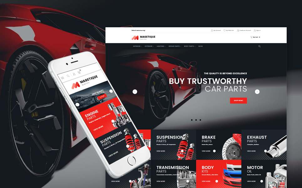Car Spare Parts Retina-Ready Magento Theme TMT Benj Harry
