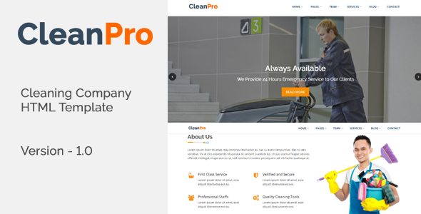 CleanPro - Cleaning Company HTML Template TFx Gallagher Jett