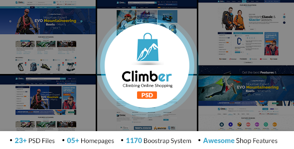 Climber - Travel Accessories PSD Template            TFx Mick Abner