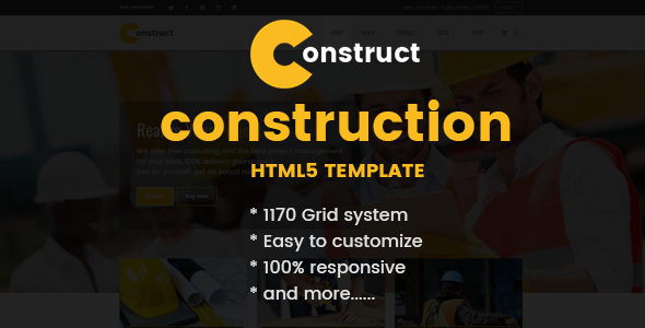 Construction, Building Business HTML Template            TFx Coty Grey