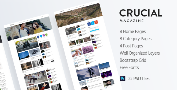 Crucial - Magazine Bootstrap 3 Responsive HTML Template TFx Drake Elvis