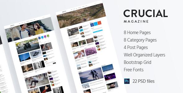 Crucial - Magazine Bootstrap 3 Responsive HTML Template TFx Drake Elvis