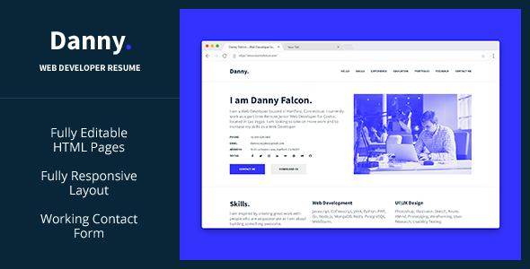 Danny — Web Developer Resume HTML Template TFx Kurtis Kyler