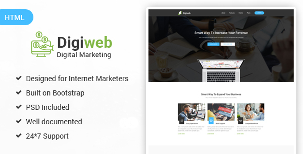DigiWeb - Internet Marketing Landing HTML Template TFx Topher Jez