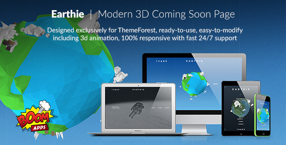 Earthie - Creative 3D Coming Soon Template TFx Brooks Ivor