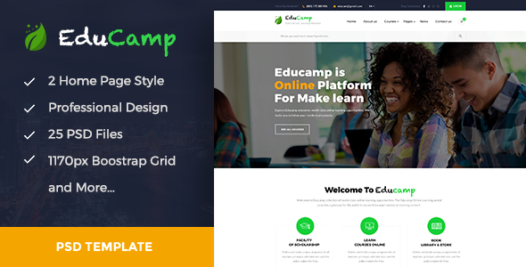 EduCamp - Education & Online Learning PSD Template            TFx Avedis Finnegan
