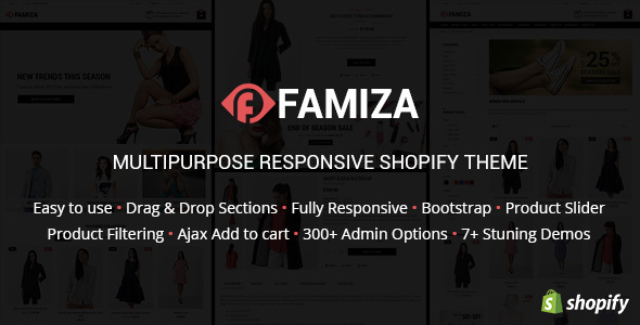 Famiza - Clean & Modern Sectioned Shopify Theme            TFx Wilton Lenox