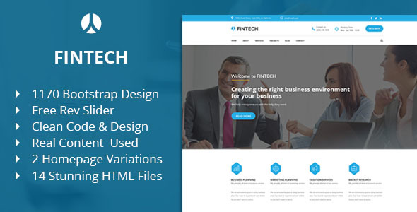 Fintech - Business, Finance & Corporate HTML Template            TFx Minato Woody