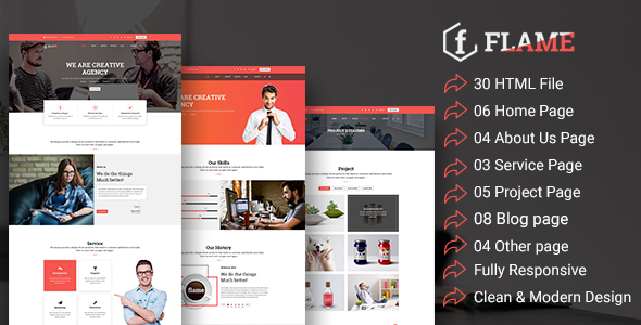 Flame - Multipurpose Corporate, Business, Agency HTML5 Template            TFx Frank Nanook