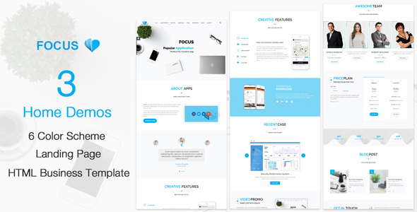 Focus – Creative Mobile Apps HTML5 Template TFx Kenneth Easton