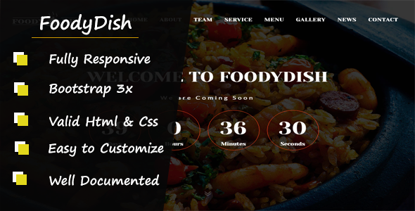 Foodydish - Responsive Coming Soon Template            TFx Orville Slade