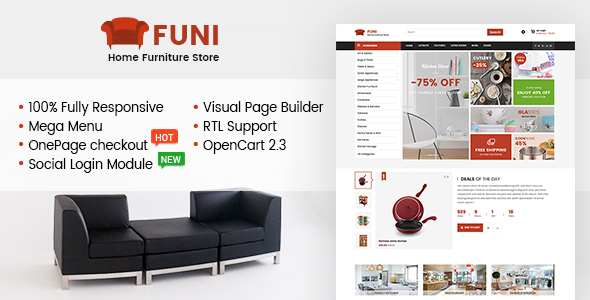Funi - Drag & Drop eCommerce OpenCart 2.3 Theme TFx Humphry Averill