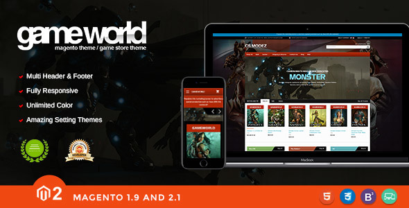 Game Store Responsive Magento Theme - Gameworld            TFx Dave Jeff