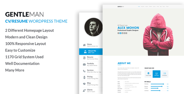 GentleMan- vCard & CV Resume WordPress Theme            TFx Harrison Kerr