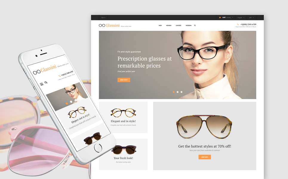 Glassini - Glasses Store Responsive PrestaShop Theme TMT Patsy Mark