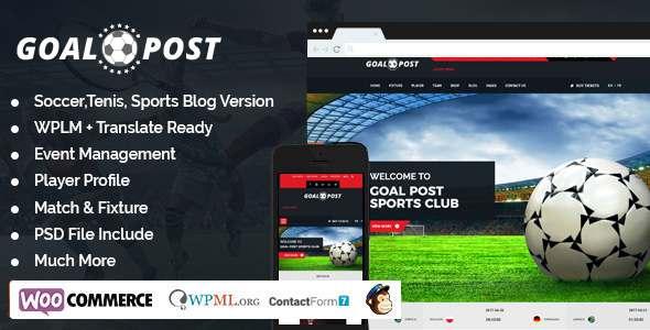 Goal Post Sports Blog WordPress Theme - Sports WP            TFx Shichiro Shelby