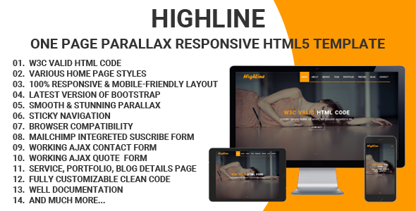 HighLine – One Page Parallax Responsive HTML5 Template TFx Ross Kichiro