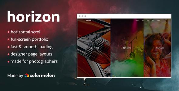 Horizon Portfolio - Fullscreen Horizontal Photography Portfolio Theme            TFx Eben Dee