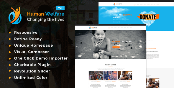 Human Welfare - Charity/Fundraising WordPress Theme            TFx Cyan Syd
