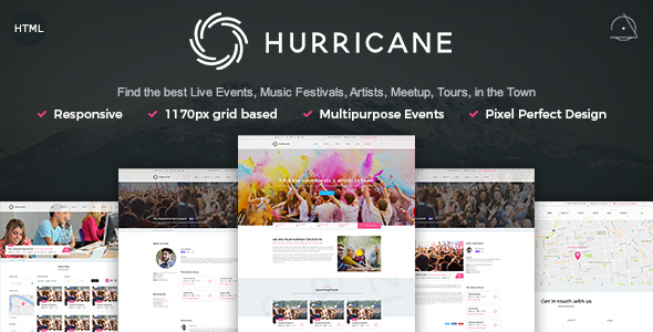 Hurricane – Live Events, Artists, Tours & Music HTML Template            TFx Hughie Conner