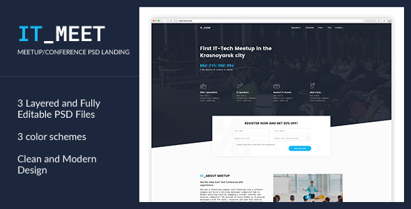 IT_Meet — Minimal and Clean Tech/IT-Conference PSD Template            TFx Norwood Francis