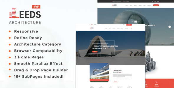 Leeds - Architecture, Interior and Design WordPress Theme            TFx Melvyn Barnaby