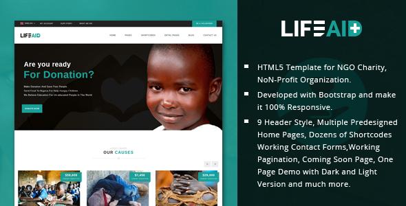 LifeAid - Minimal Charity, NGO, Non-Profit, Fund Raising HTML Template            TFx Pat Shinobu