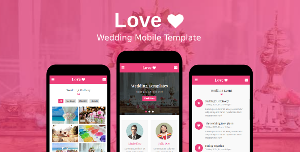 Love - Wedding Mobile Template TFx SiteTemplates Johnathan Abhdok