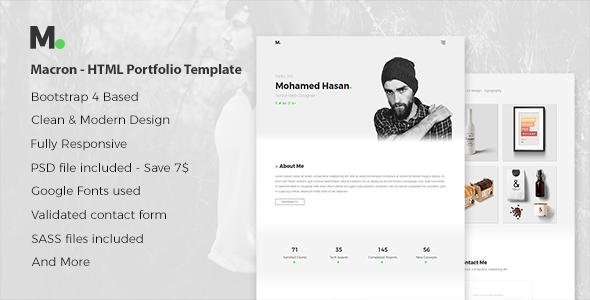 Macron – HTML Personal Portfolio Template.            TFx Lucky Jackie