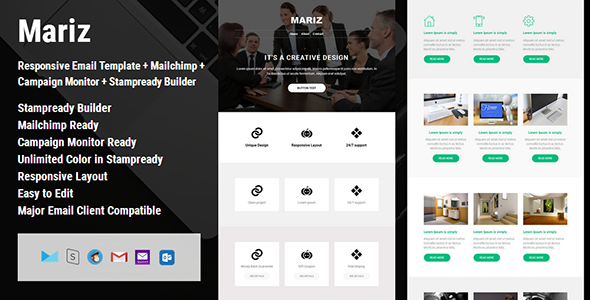 Mariz - Responsive Email Template + Campaign Monitor + Mailchimp + Stampready Builder            TFx Edwin Clark