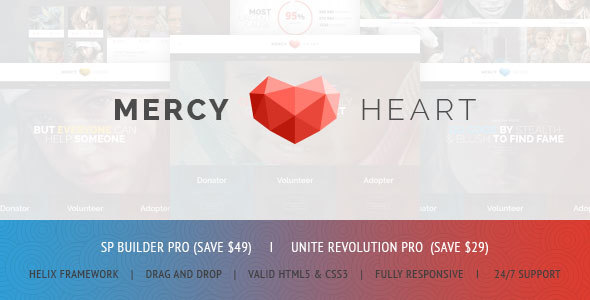 Mercy Heart - Modern Charity Responsive Joomla Theme TFx Griffin Jess