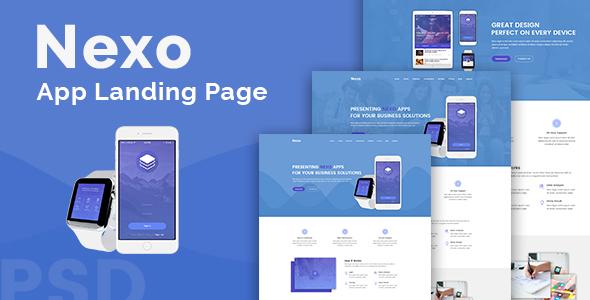 Nexo – App Landing PSD Template TFx PSDTemplates Derren Davis